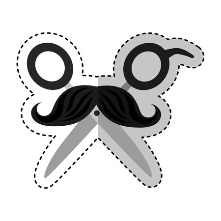 hairdresser scissors with mustache isolated icon vector illustration design
