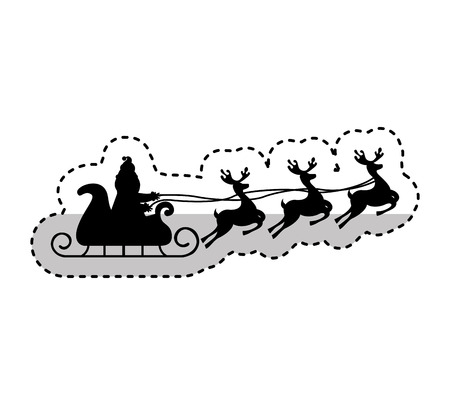 santa sleigh: santa claus carriage with reindeer flying isolated icon vector illustration design