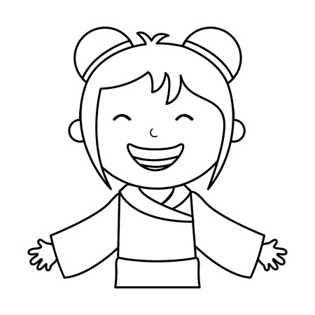 japanese little girl icon vector illustration design