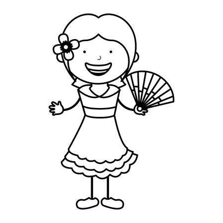 spanish little girl character vector illustration design