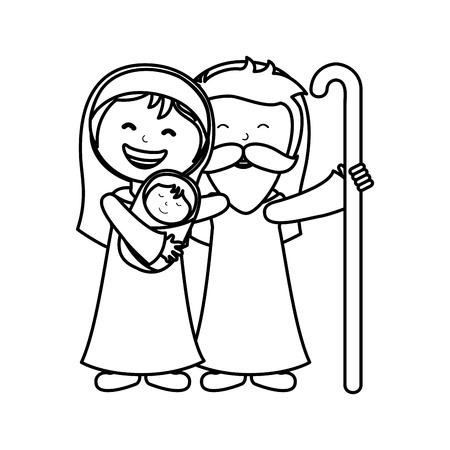 holy family manger character vector illustration design Illustration