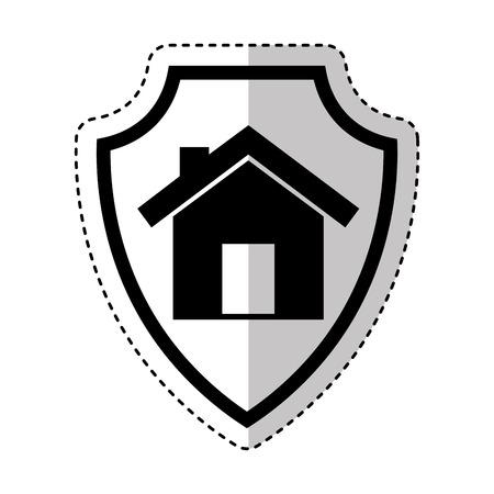 免震の家アイコン ベクトル イラスト デザインと保険の盾  イラスト・ベクター素材