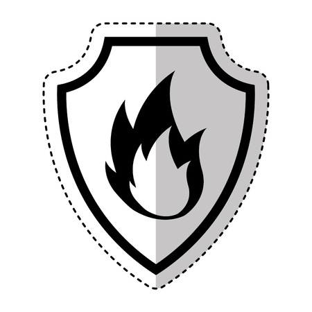 shield insurance with fire isolated icon vector illustration design Illustration