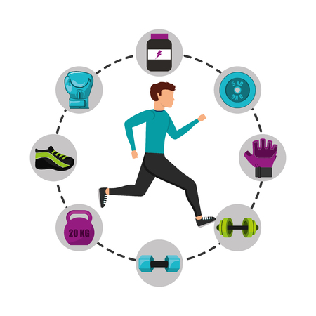healthy lifestyle concept icons vector illustration design Illustration