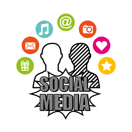 arroba: social media network icons vector illustration design