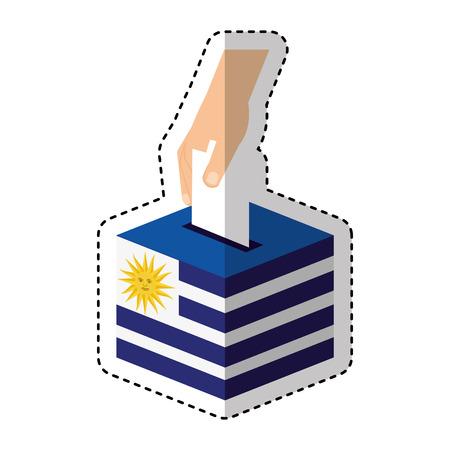 jour d'élection uruguay urn design d'illustration vectorielle