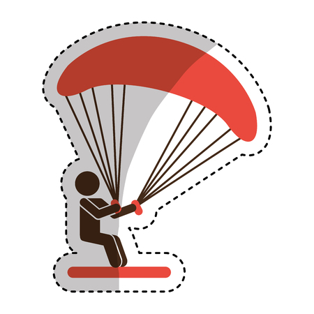 airplay: Parachutist silhouette flying icon vector illustration design