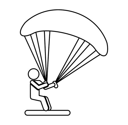 Parachutist silhouette flying icon vector illustration design