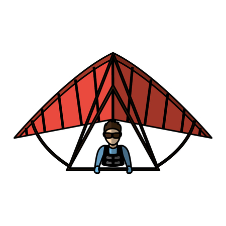 Paraglider silhouette flying icon vector illustration design Illustration
