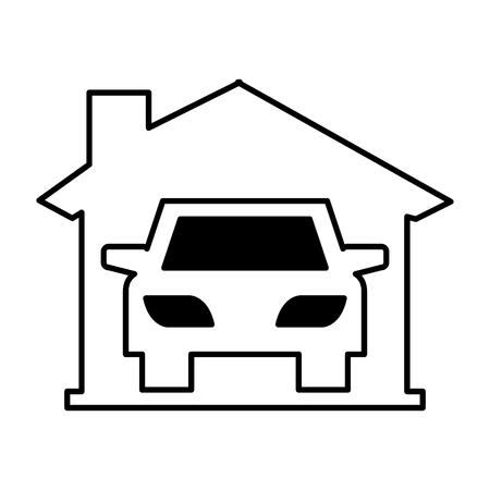 auto voertuig silhouet in garage pictogram vector illustratie ontwerp