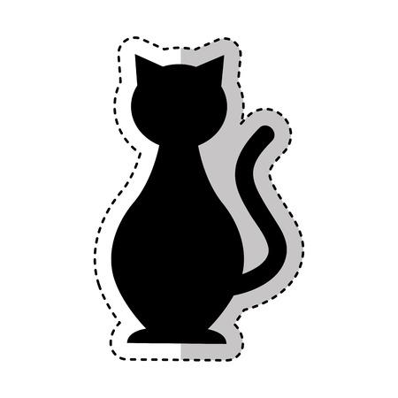 Silueta de mascota de gato lindo icono aislado diseño de ilustración vectorial
