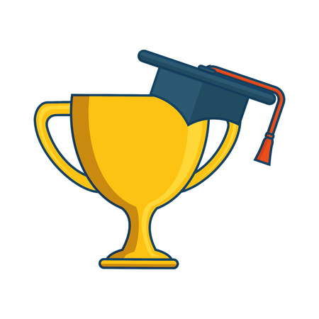 trophy cup with hat graduation award isolated icon vector illustration design