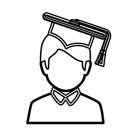 graduated: graduated avatar character emblem vector illustration design