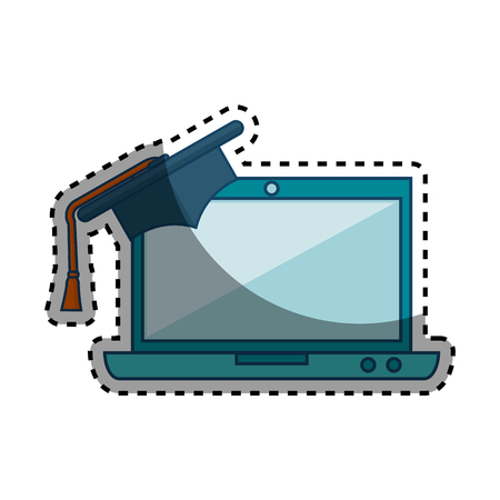 laptop computer with graduation hat isolated icon vector illustration design