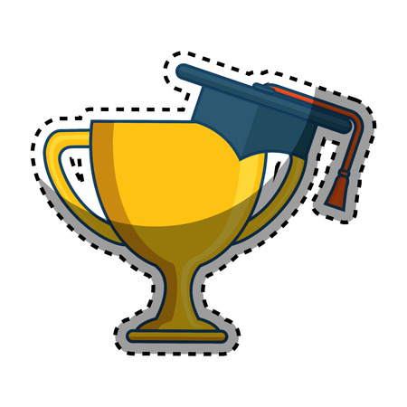 graduated: trophy cup with hat graduation award isolated icon vector illustration design