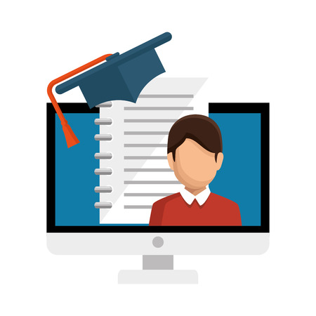 computer desktop with ebook isolated icon vector illustration design