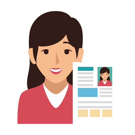 Femme avatar avec curriculum vitae document icône vector illustration design Banque d'images - 73566143