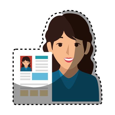 Vrouw avatar met curriculum vitae document pictogram vector illustratie ontwerp