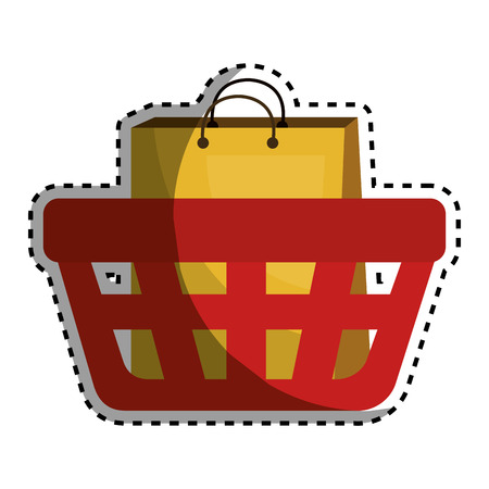 basket shopping with paper bags commercial icon vector illustration design
