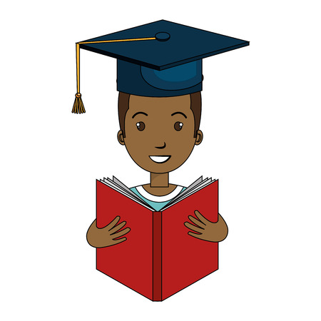graduated avatar character reading book vector illustration design Illustration