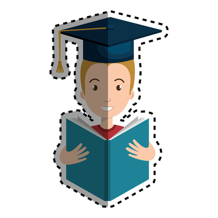 graduated avatar character reading book vector illustration design Illustration
