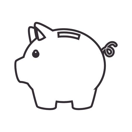 돼지 저축 돈 아이콘 벡터 일러스트 레이 션 디자인