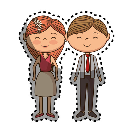 couple lovers characters icon vector illustration design