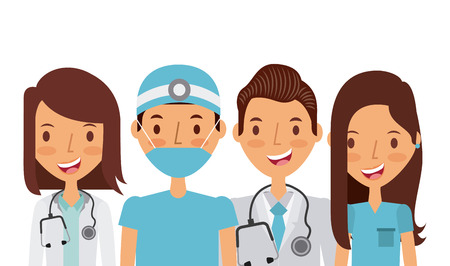 medicine professional people over white background. colorful design. vector illustration Illustration