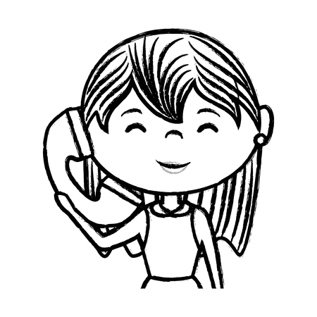 woman on phone: beautiful woman with phone avatar character vector illustration design Illustration