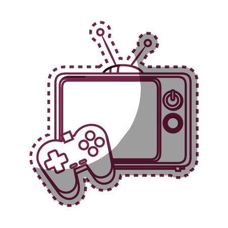 retro tv with videogame control isolated icon vector illustration design