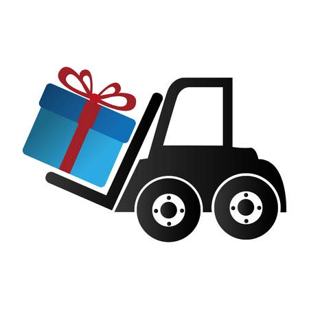 fork lifts trucks: forklift vehicle with gift isolated icon vector illustration design