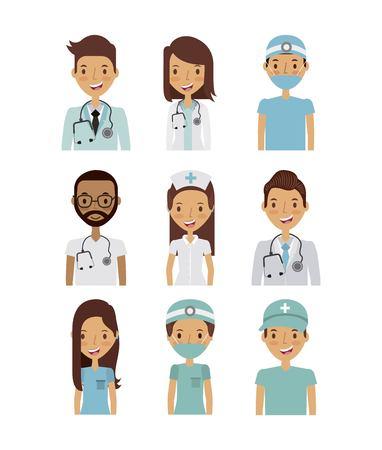 professional medical people over white background. colorful design. vector illustration