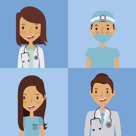 professional medical people over blue  background. colorful design. vector illustration
