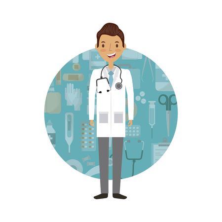 medical doctor man cartoon icon over white background. colorful design. vector illustration Illustration