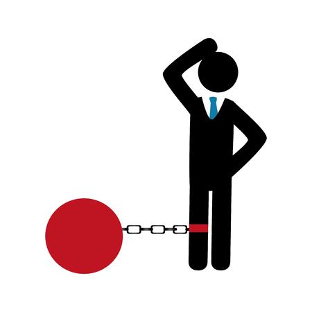 businessman silhouette with Slave shackle vector illustration design