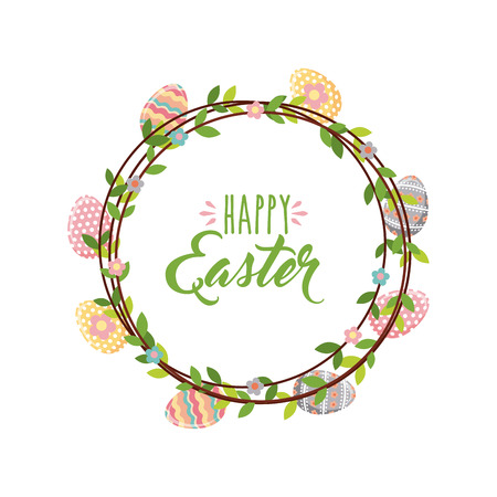 Happy easter card with decorative wreath of flowers and eggs over white background. colorful design. vector illustration Illustration