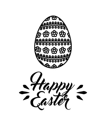 happy easter card with egg icon over white background. vector illustration