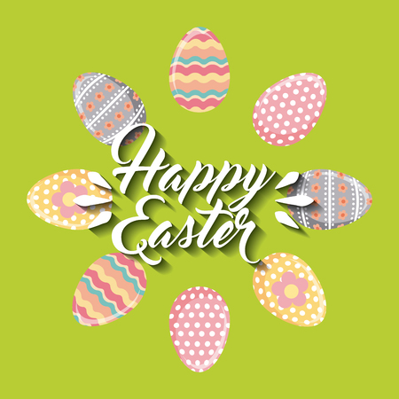 happy easter card with eggs icon over green background. colorful desing. vector illustration
