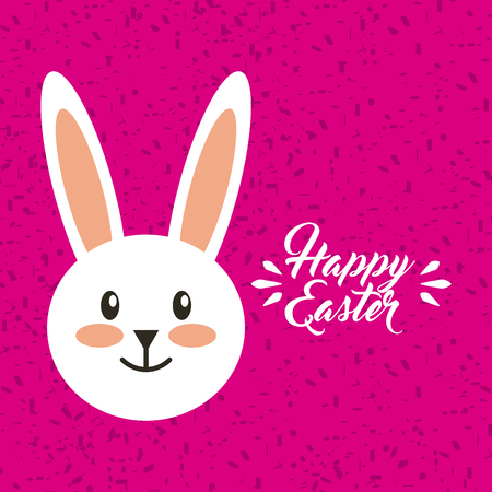 happy easter card with bunny icon over pink background. colorful design. vector illustration