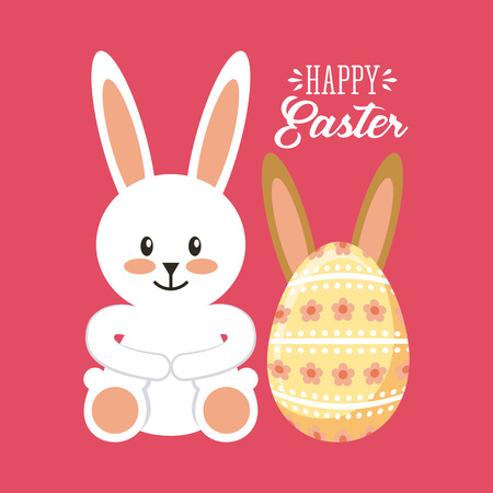 desing: happy easter card with bunny and egg icon over pink background. colorful desing. vector illustration Illustration