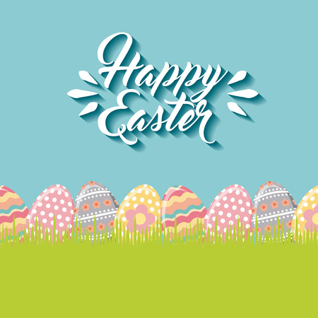 desing: happy easter card with eggs hanging over blue background. colorful desing. vector illustration