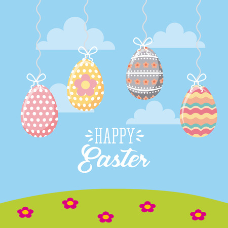 happy easter card with eggs hanging over blue background. colorful desing. vector illustration