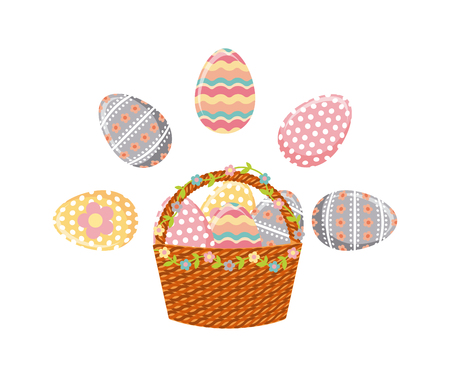 basket with easter eggs over white background. colorful design. vector illustration