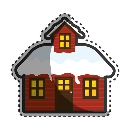 wooden house winter season vector illustration design Illustration
