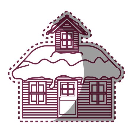 Maison en bois saison hiver design illustration vectorielle Banque d'images - 73798771
