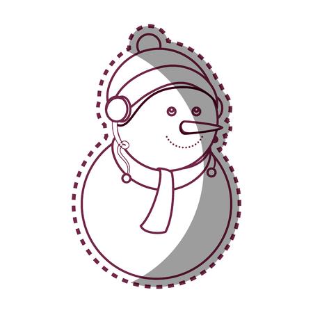 hung: happy merry christmas snowman card vector illustration design