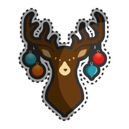 chunk: happy merry christmas reindeer card vector illustration design