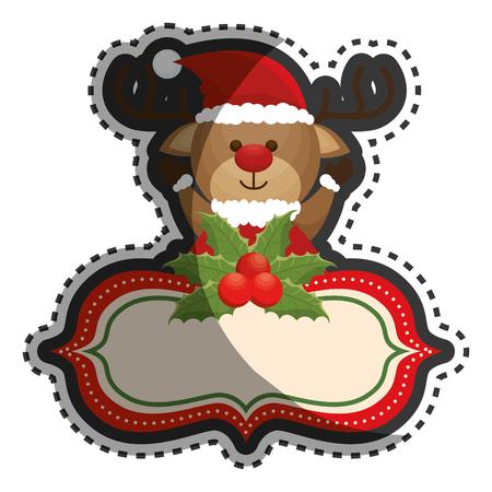 happy merry christmas reindeer card vector illustration design