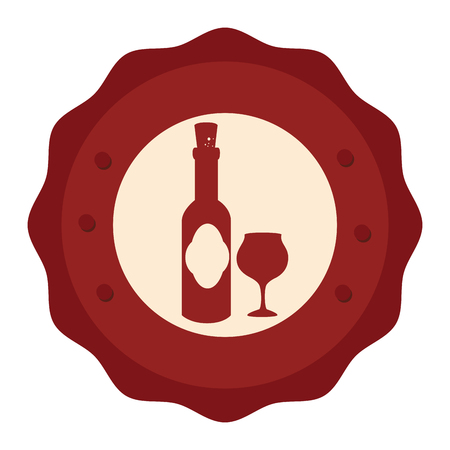 wine cup and bottle isolated icon vector illustration design