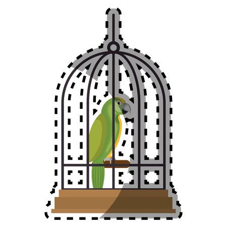 cute bird parrot in cage mascot vector illustration design Illustration